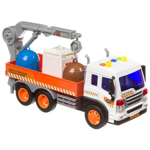 Грузовик BONDIBON Парк техники Экологический сервис (ВВ4066) 1:16, 27.5 см, белый/оранжевый