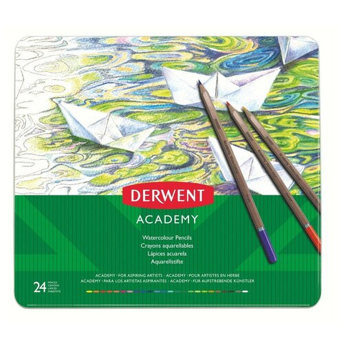 Купить Набор карандашей акварельных 24цв Derwent Academy Watercolour Tin мет.кор, Цветные карандаши
