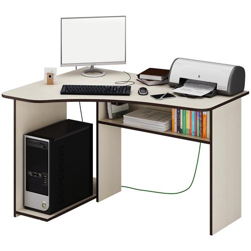 Фото - Компьютерный стол угловой MfMaster Триан-1, ШхГ: 120х90 см, угол: слева, цвет: дуб молочный левый стол компьютерный триан 1