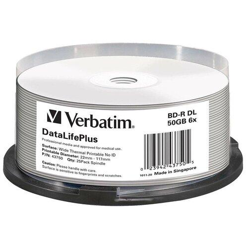 Фото - Оптический диск Verbatim BD-R 50Gb 6x Cake Box 25 шт 43750 диск bd r 50gb cmc 6x full printable bulk упаковка 10 штук