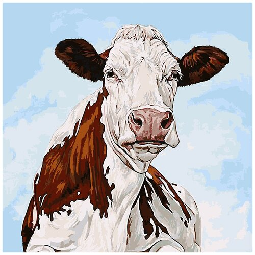 Купить Картина по номерам Буренка, 80 х 80 см, Красиво Красим, Картины по номерам и контурам