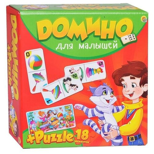 Настольная игра Рыжий кот Домино + пазлы Для малышей ИН-6755 настольная игра домино пазл для малышей для девочек