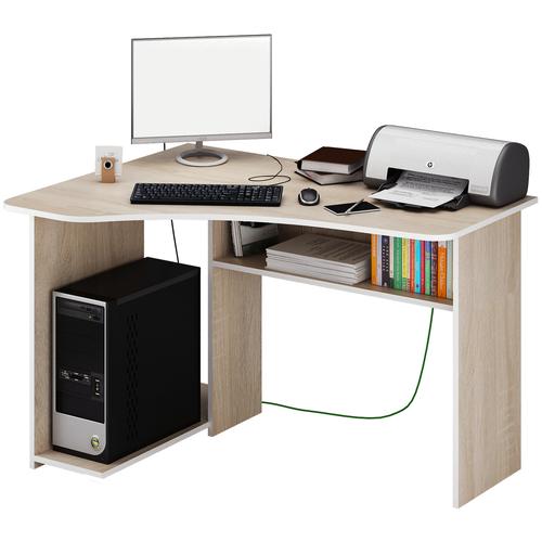 Фото - Компьютерный стол угловой MfMaster Триан-1, ШхГ: 120х90 см, угол: слева, цвет: дуб сонома левый стол компьютерный триан 1