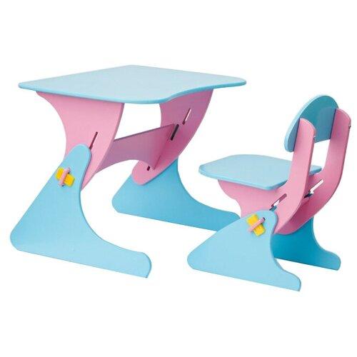 Комплект Столики детям столик + стул Буслик 67x50 см розовый/голубой