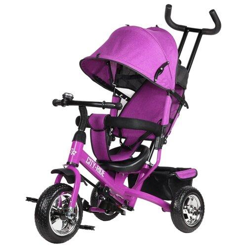 Купить Велосипед детский трехколесный City-Ride, колеса пластик 10/8, поворотное сиденье, велосипед для детей, для малышей, с родительской ручкой, бампер, багажник, цвет розовый, Трехколесные велосипеды