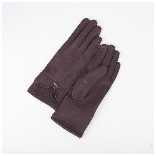 Перчатки жен, 23,5 см, безразмер, без утеплителя, манжет резинка, прямоугольник пряжка, коричневый 5 кулон родонит прямоугольник биж сплав 6 5 см