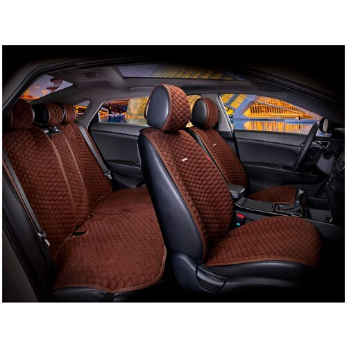 Комплект накидок на автомобильные сиденья CarFashion CAPRI PRO PLUS коричневый/коричневый/коричневый