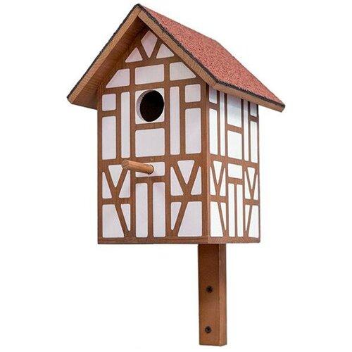 Скворечник Дарэлл Тироль с двускатной крышей малый 19,5 х 18,5 х 39 см (1 шт) игрушка для грызунов дарэлл кубик малый деревянный 10 х 10 х 11 5 см 1 шт