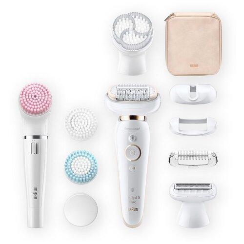 Фото - Эпилятор Braun SES 9100 Silk-epil 9 Flex Beauty Set + щетка для лица white эпилятор braun 9 995 bs silk épil beauty set 9 белый розовый