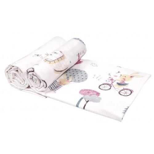 Купить Многоразовые пеленки Daisy фланель 90х145 комплект 2 шт. зайчата на вело, бордовый, Пеленки, клеенки