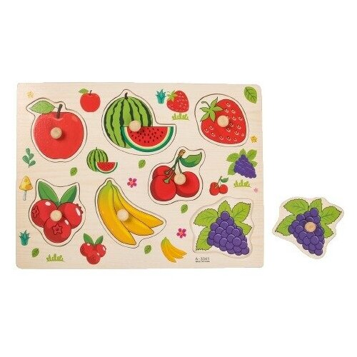 Купить Рамка-вкладыш Подбери картинку Ягоды-фрукты 2567253, Лесная мастерская, Пазлы