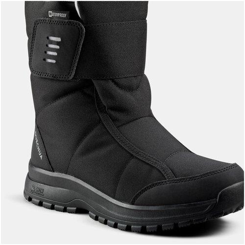 Сапоги зимние утепленные непромокаемые средние женские SH100 Х–WARM, размер: EU38, цвет: Черный QUECHUA Х Декатлон
