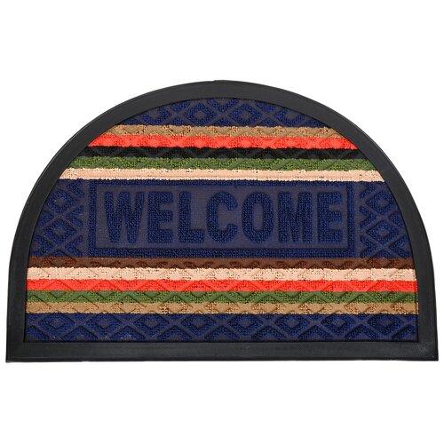 Придверный коврик VORTEX Comfort Welcome, размер: 0.6х0.4 м, синий коврик vortex придверный comfort d 65см круглый