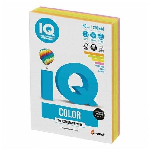 Фото - Бумага IQ Color A4 80 г/м² 200 лист. (4 цв. х 50 л.), неон RB04 бумага iq color a4 80 г м² 250 лист 5 цв х 50 л тренд rb03