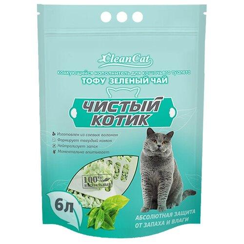 Наполнитель для кошек. Комкующийся наполнитель. Наполнитель тофу зеленый чай, 6л. Tofu.