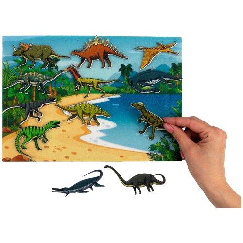 Купить Развивающая игра из фетра на липучках Динозавры , Веселые липучки, Развивающие коврики