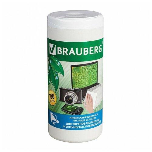 Фото - BRAUBERG 510122 влажные салфетки 100 шт. для оптики, для экрана салфетки влажные для экранов favorit offic f130001 screen clean 100шт