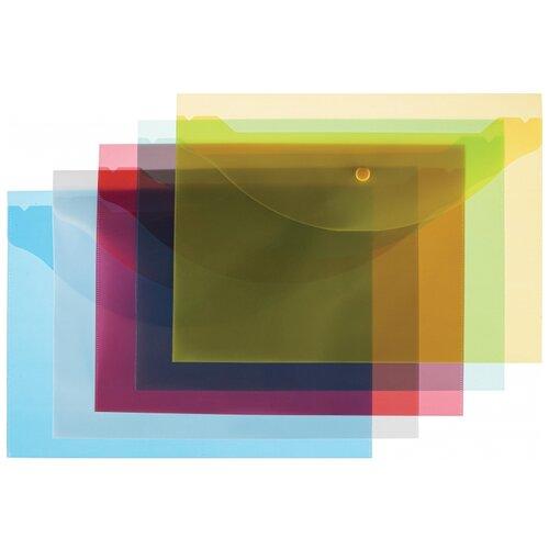 Купить Attache Папка-конверт на кнопке A4 120 мкм, 10 шт разноцветный, Файлы и папки