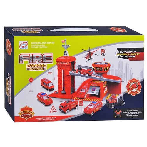 Купить Junfa toys Пожарная станция (TH8523), красный, Детские парковки и гаражи