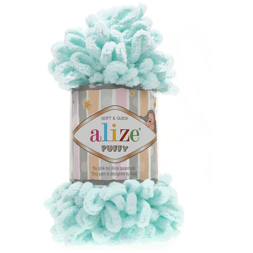 Купить Пряжа для вязания Alize 'Puffy' 100г 9м (100% микрополиэстер) (15 св.бирюза), 5 мотков