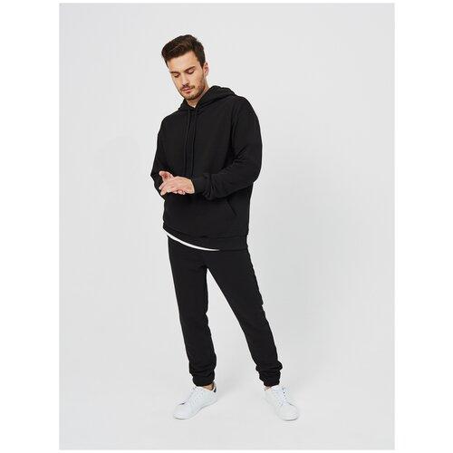 Костюм спортивный мужской KVATI KS9441M (толстовка/худи,джоггеры/брюки) /черный /с вышивкой