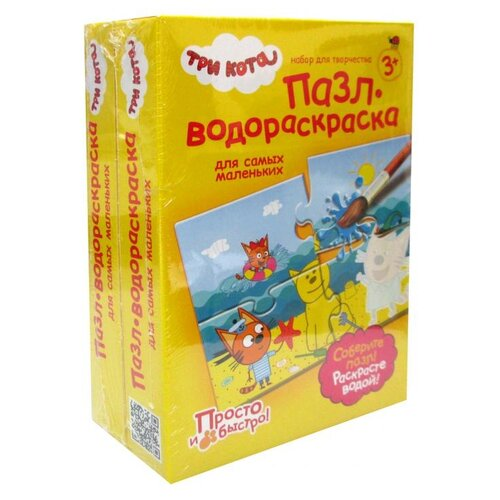 Купить Три кота Пазлы-водораскраски Набор №34 (комплект из 2 шт), Фантазёр, Раскраски