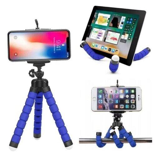 Штатив для мобильного телефона с гибкими ножками / Подставка держатель для планшета iPad и Samsung TAB (Айпад и Самсунг ТАБ) / Тренога для селфи / Штатив для съемки фото и видео / Штатив для Экшн камер (GoPro, Sony и Xiaomi) / Идея подарка (Синий)