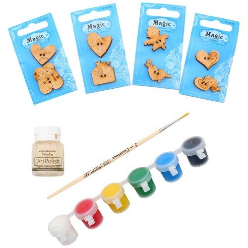 Купить Набор пуговиц для раскрашивания 'Любовь' (2-3см), с красками, Astra&Craft, Astra & Craft, Роспись предметов