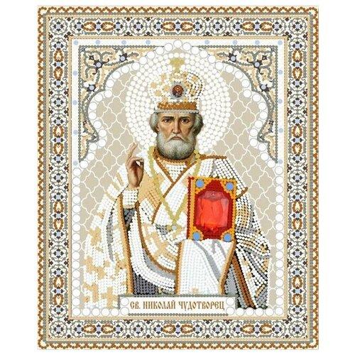 Купить Святой Николай Чудотворец (рис. на сатене 20х25) (строчный шов) Конек 7106, Конёк, Наборы для вышивания