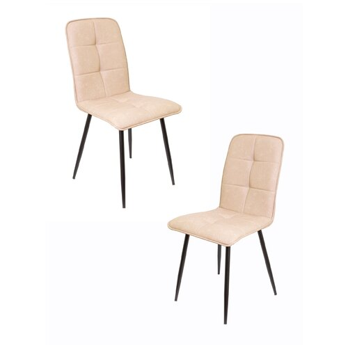 Комплект кухонных стульев (2 шт.), СтолБери, Пежо, кожзам капучино, металлокаркас муар чёрный