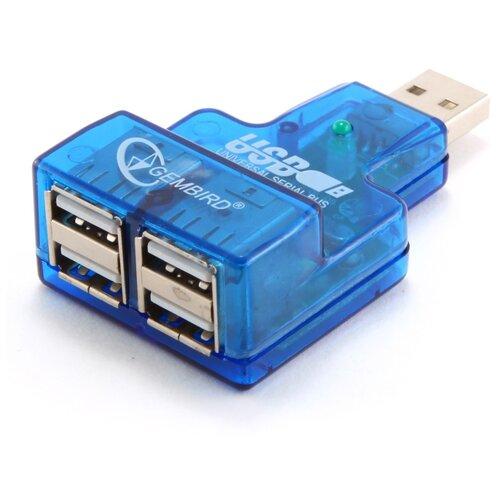 USB-концентратор Gembird UHB-CN224, разъемов: 4, синий