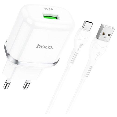 Фото - Сетевое зарядное устройство быстрое QC 3.0 с кабелем USB Type-C Hoco N3 Special - Белое сетевое зарядное устройство borasco qc 3 0 белое