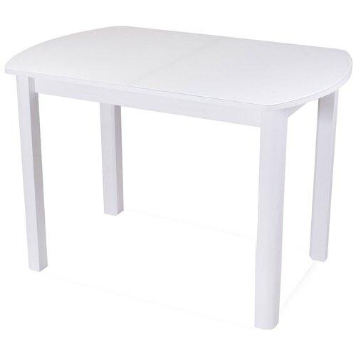 Стол кухонный Домотека Танго ПО 04, раскладной, ДхШ: 110 х 70 см, длина в разложенном виде: 147 см, БЛ ст-БЛ белый/стекло белое 04 белый