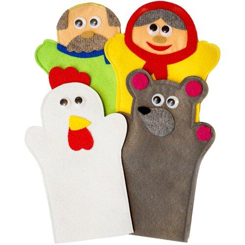 Купить Театр на руку из фетра по сказке Курочка Ряба , Веселые липучки, Кукольный театр