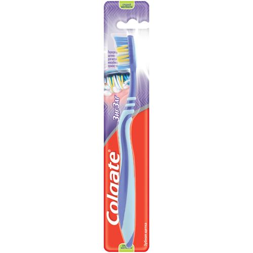 Зубная щетка Colgate Зиг Заг многофункциональная, средней жесткости, голубой, фиолетовый