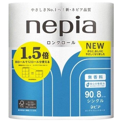 Туалетная бумага Nepia Long Roll однослойная, 8 рул.