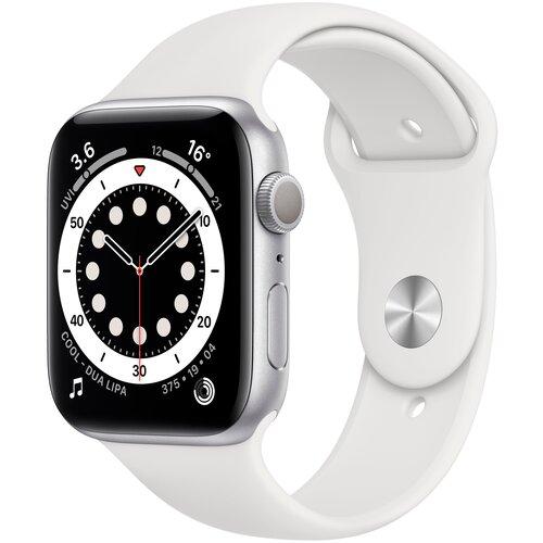 Умные часы Apple Watch Series 6 GPS 44мм Aluminum Case with Sport Band, серебристый/белый умные часы apple watch series 6 gps 44mm aluminum case with sport band white серебристый белый
