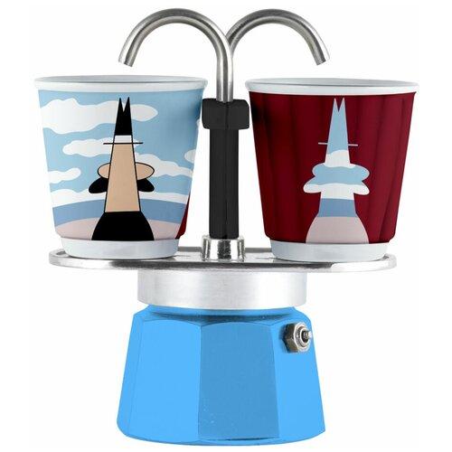Набор гейзерная кофеварка Bialetti Mini Express Arte Magrite с 2 стаканами
