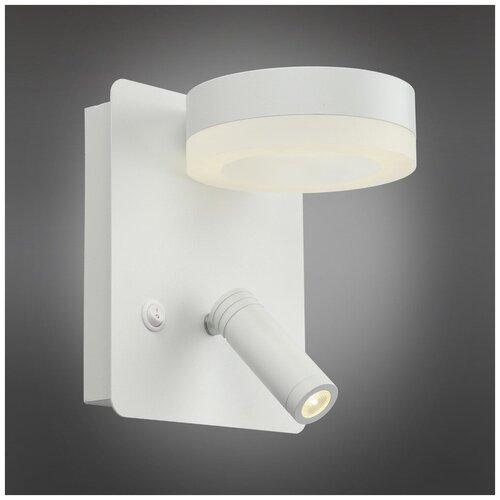 Бра светодиодное Omnilux Sorano OML-10901-02, 8 Вт, цвет арматуры: белый, цвет плафона: белый бра omnilux champsaur oml 38501 02 с выключателем 120 вт