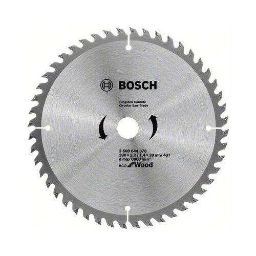 Пильный диск BOSCH Eco for Wood 2608644378 190х20 мм диск пильный bosch eco wood 190 ммx20 мм 48зуб 2608644378