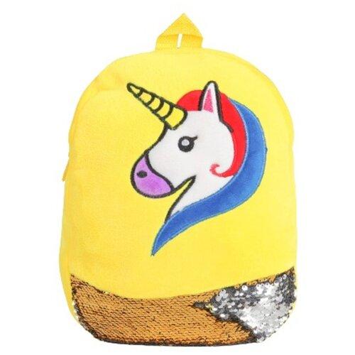 Мягкий рюкзак «Единорог», с пайетками, цвет жёлтый