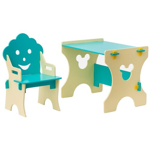 Комплект Столики детям стол + стул Гном 50x45 см бирюзовый/бежевый