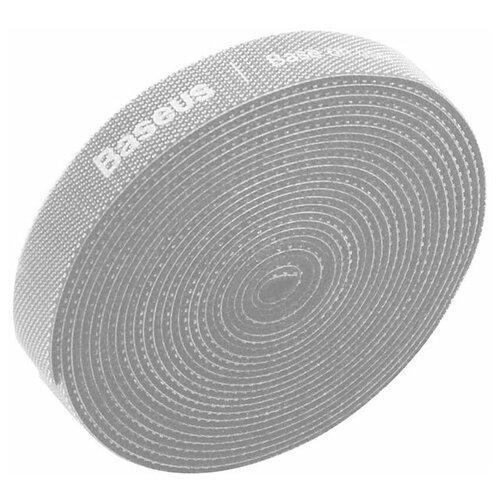 Стяжка для проводов на липучке Baseus Rainbow Circle Velcro Straps 3m (ACMGT-F0G) серая