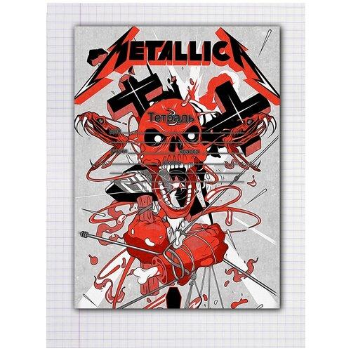 Купить Набор тетрадей 5 штук, 12 листов в клетку с рисунком Metallica Череп оранжевый, Drabs, Тетради