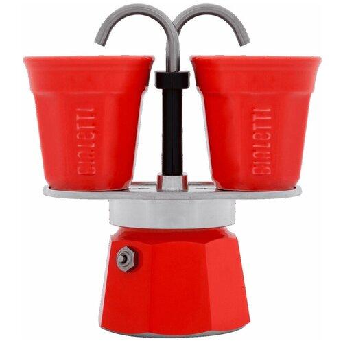 Набор гейзерная кофеварка Bialetti Mini Express Red с 2 стаканами