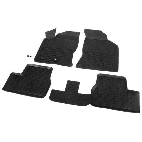 Комплект ковриков салона RIVAL 66001001 для LADA (ВАЗ) Granta, LADA (ВАЗ) Kalina 4 шт. черный коврик багажника rival 16002004 для lada ваз granta lada ваз kalina черный