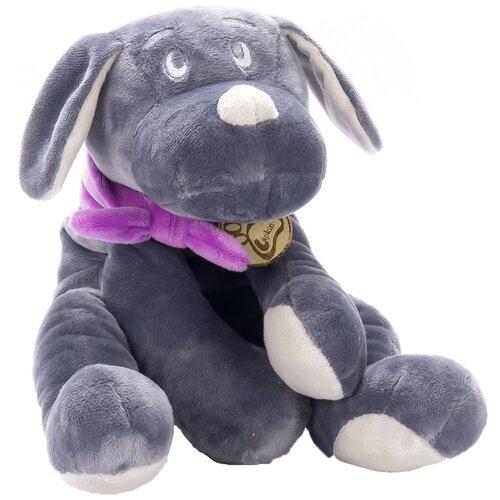 Мягкая игрушка Lapkin Собака серая в фиолетовом шарфике 30 см