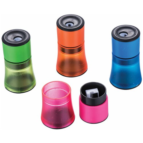Фото - Точилка BRAUBERG Office Style, с контейнером, пластиковая, корпус ассорти, 228450 точилка brauberg diamond dual с контейнером пластиковая овальная 2 отверстия цвет ассорти 226941