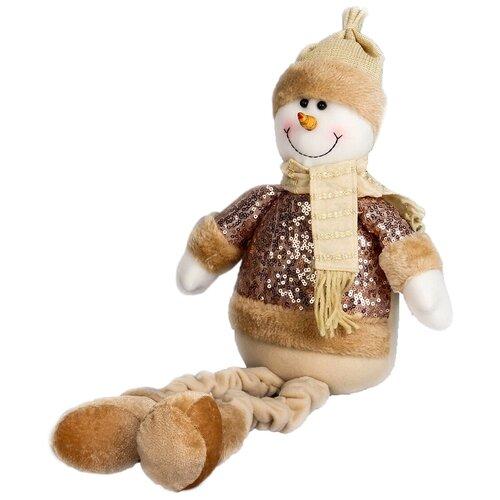 Мягкая игрушка Зимнее волшебство Снеговик в пайетках - длинные ножки 52 см