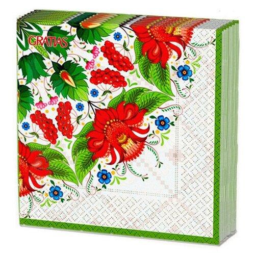 Салфетки бумажные, 3 слоя, 33*33 см., 20 листов Gratias Летняя сказка